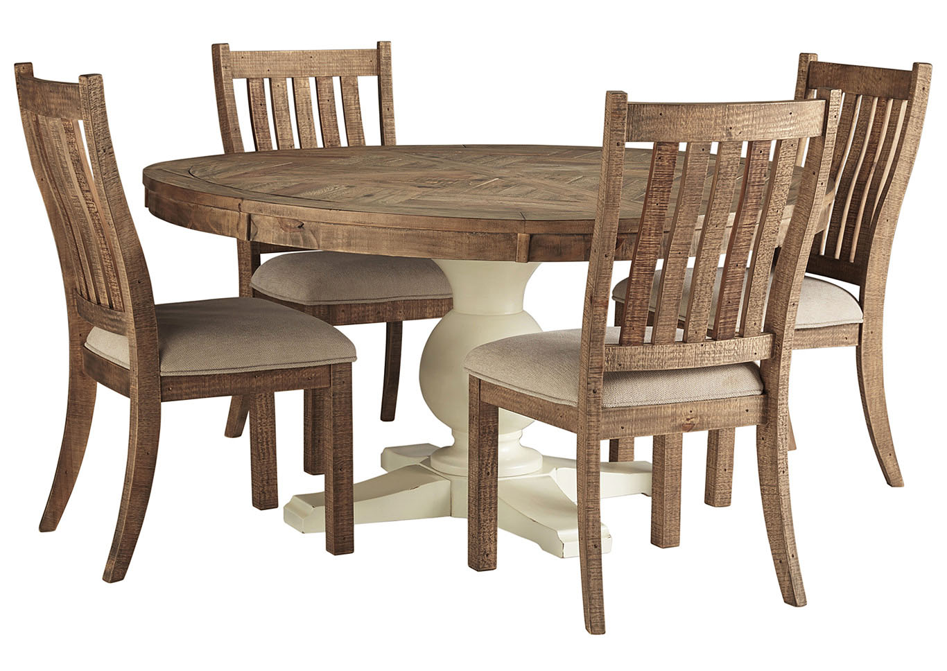 <Grindleburg Round Dining Table w/4 Brown Side Chairs