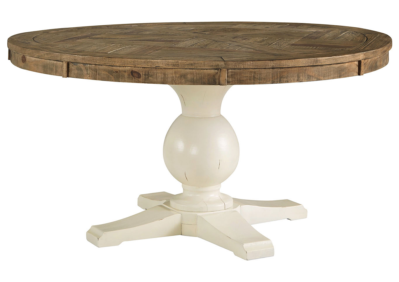 Gorees Furniture Opelika AL Grindleburg WhiteLight Brown Round - White and brown round dining table