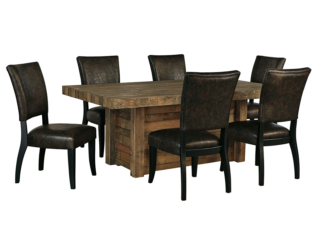 Sommerford Brown Rectangular Dining Room Table w/4 Upholstered Side Chairs,Signature Design By Ashley