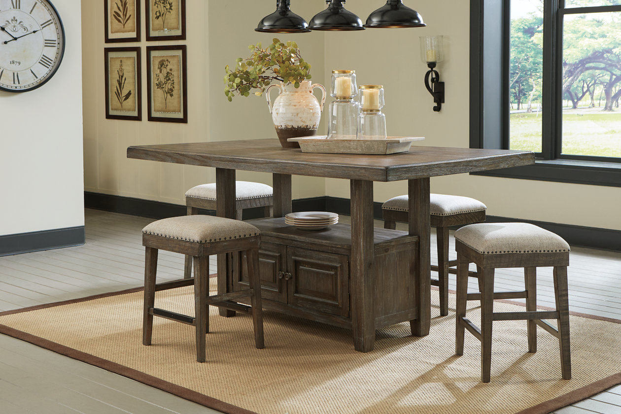 Wyndahl Brown Counter Dining Table w/4 Bar Stool,Signature Design By Ashley