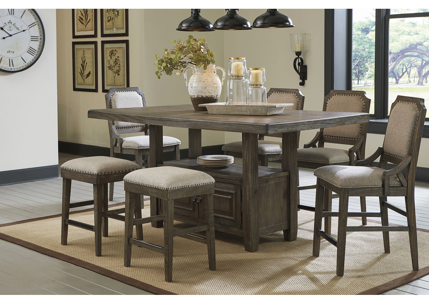 Wyndahl Brown Counter Dining Table w/4 Counter Chair & 2 Bar Stool,Signature Design By Ashley