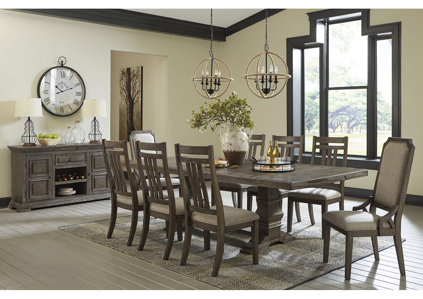 Wyndahl Brown Dining Table w/6 Side Chair & 2 Upholstered Chair,Signature Design By Ashley