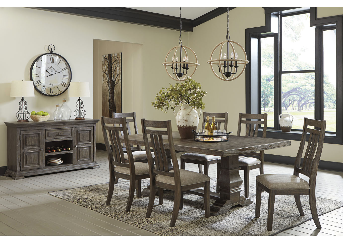 Wyndahl Brown Dining Table w/6 Side Chair,Signature Design By Ashley