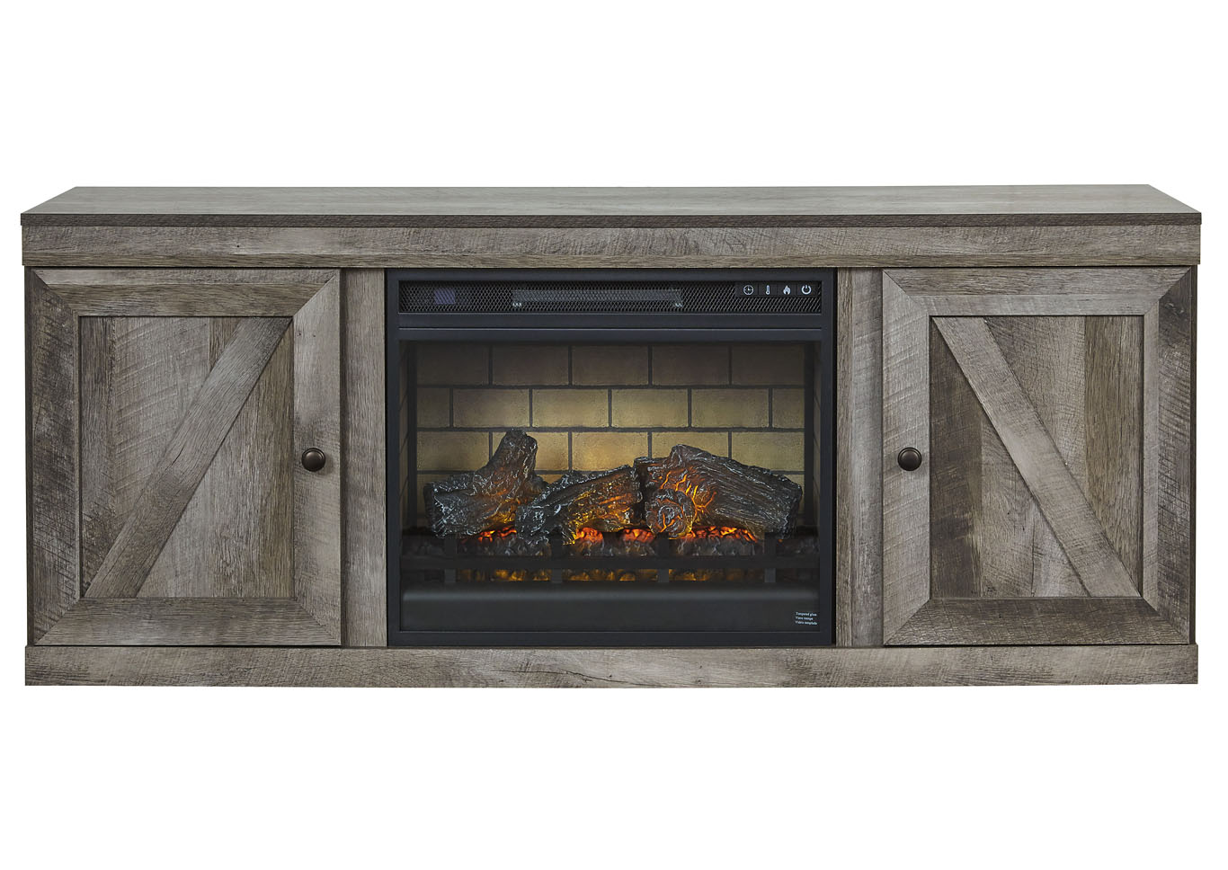 "Wynnlow Gray 63"" TV Stand w/Fireplace Insert Infrared,Signature Design By Ashley"
