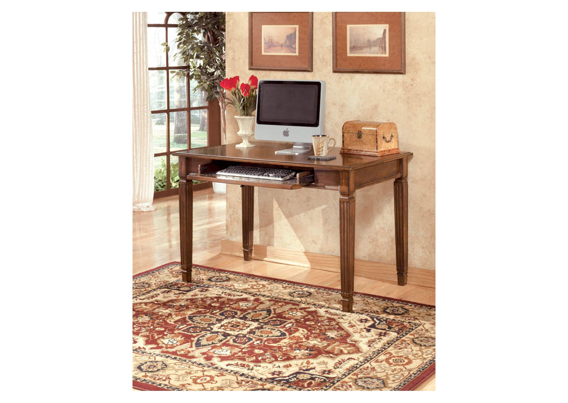 Hamlyn Medium Brown Small Leg Desk,48 Hour Quick Ship