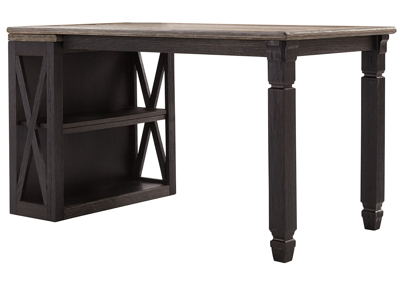 Tyler Creek Grayish Brown/Black Medium Bookcase w/Desk Return,Signature Design By Ashley