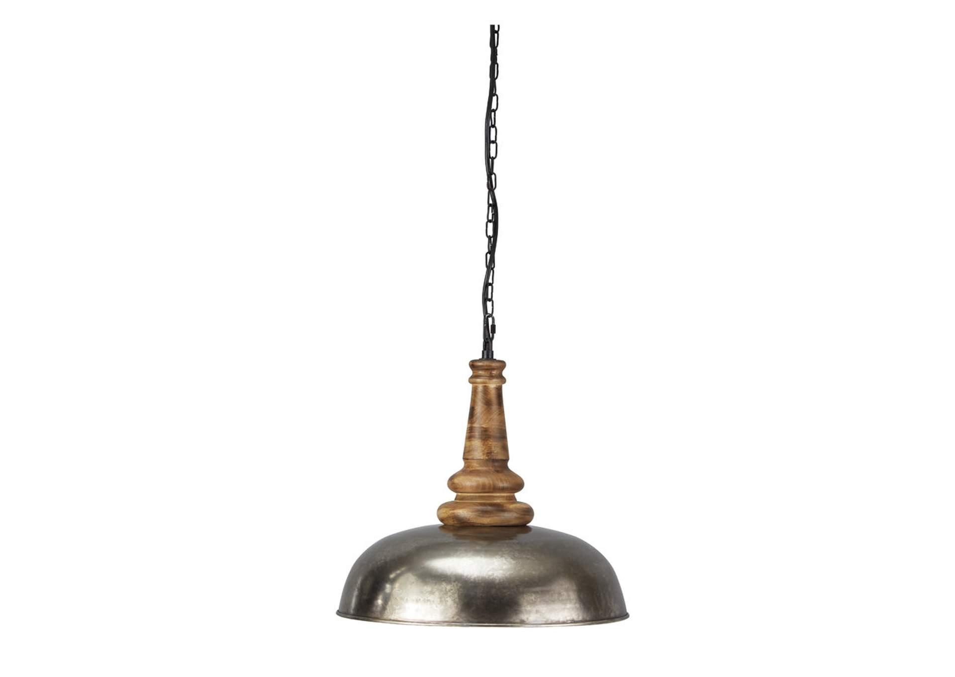 Joziah Antique Silver Finish Metal Pendant Light,Signature Design By Ashley