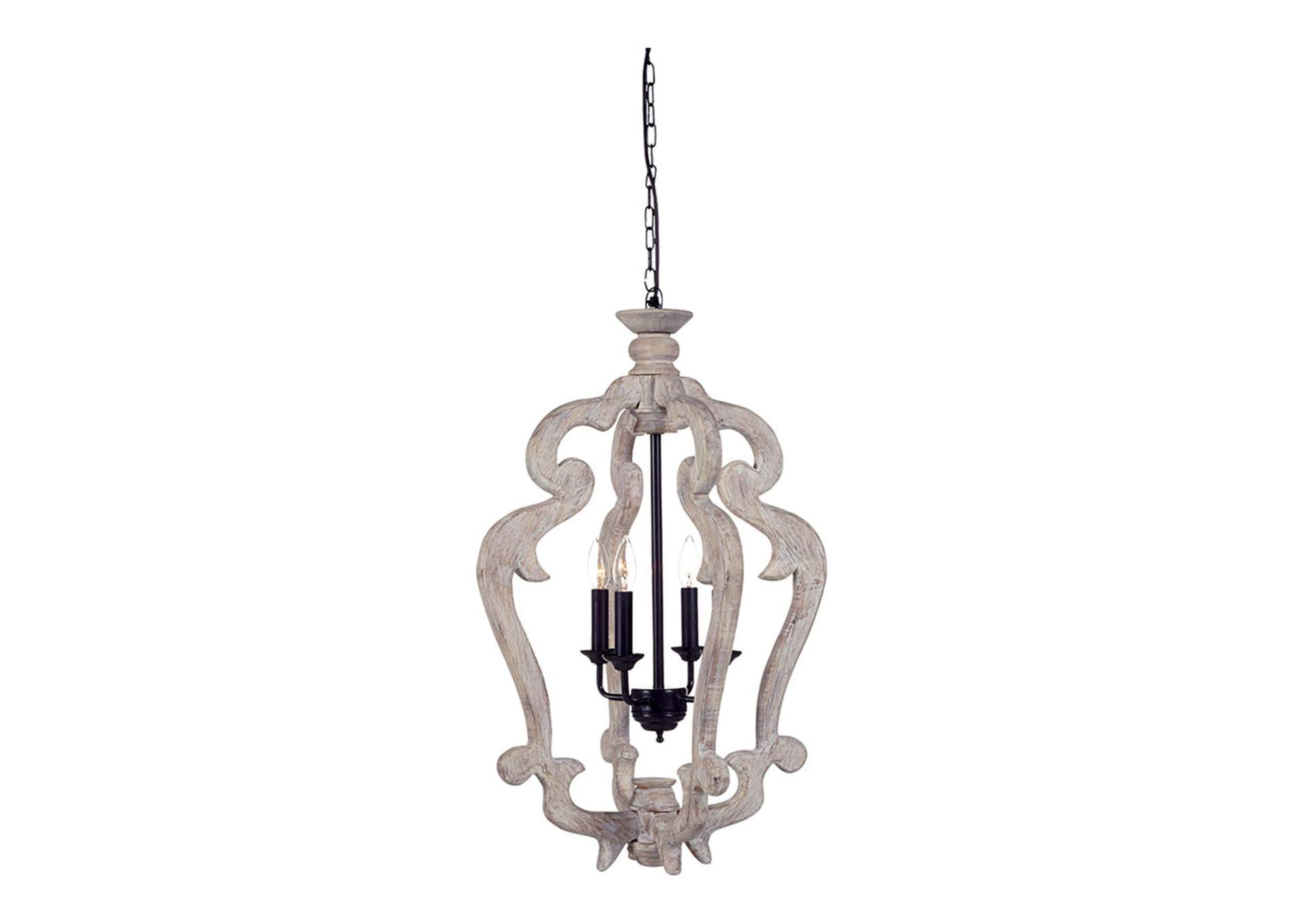 Jocelin Distressed White Wood Pendant Light,Signature Design By Ashley
