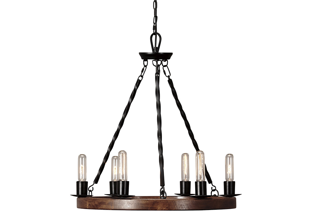 Plato Brown/Black Wood Pendant Light,Signature Design By Ashley