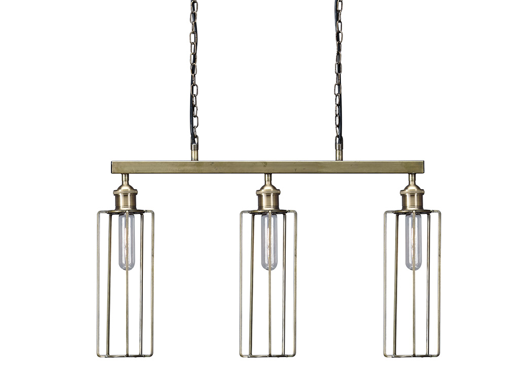 Hilary Brass Finish Metal Pendant Light,Signature Design By Ashley