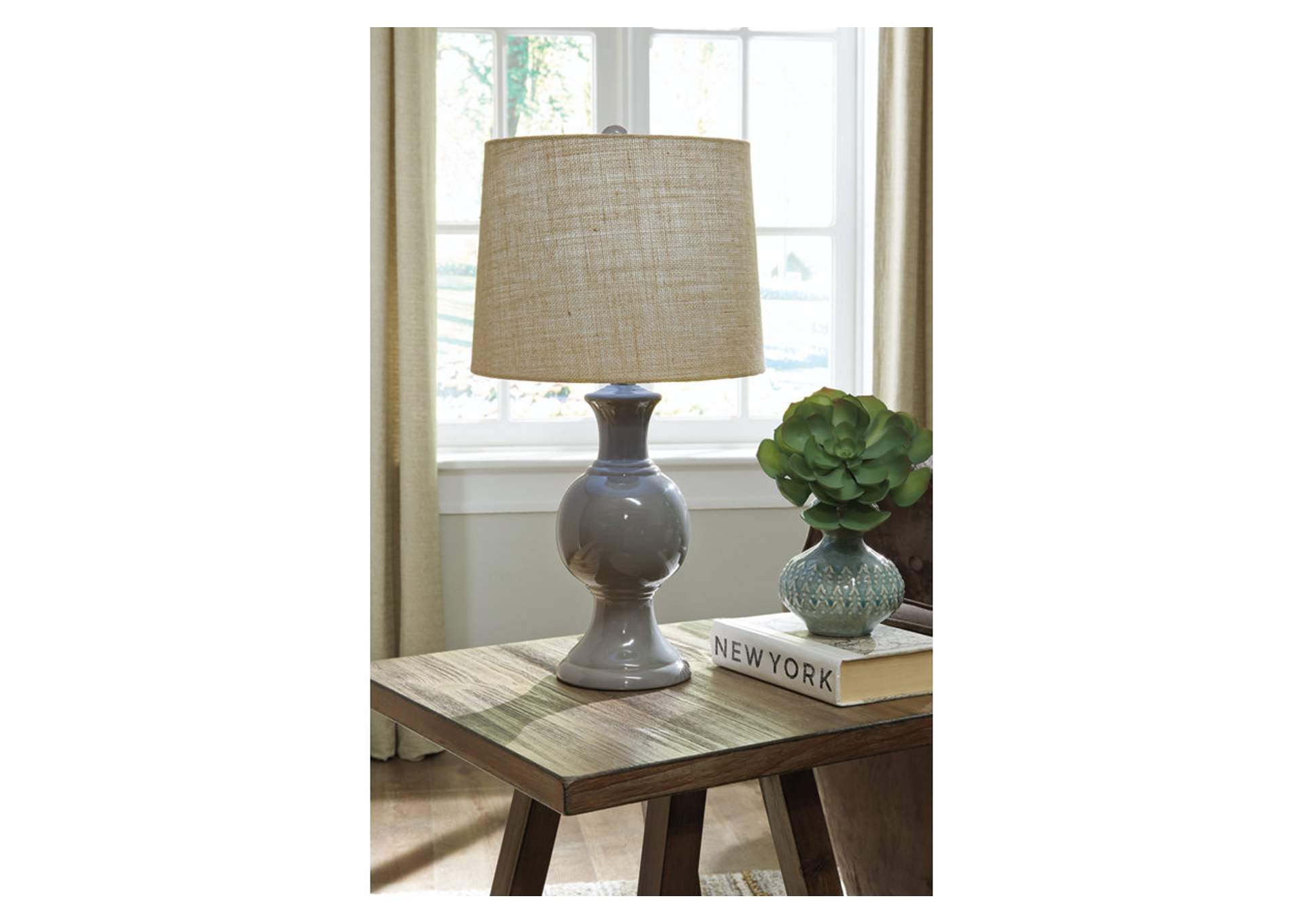 Magdalia Gray Ceramic Table Lamp,Signature Design By Ashley