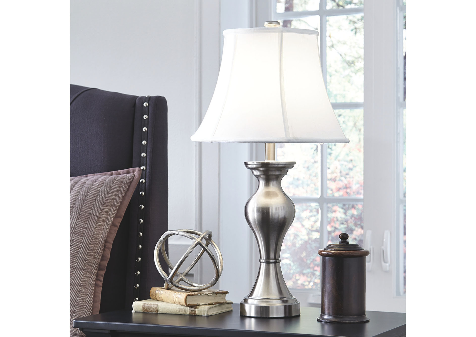 Rishona Brushed Silver Table Lamp (Set of 2),Signature Design By Ashley