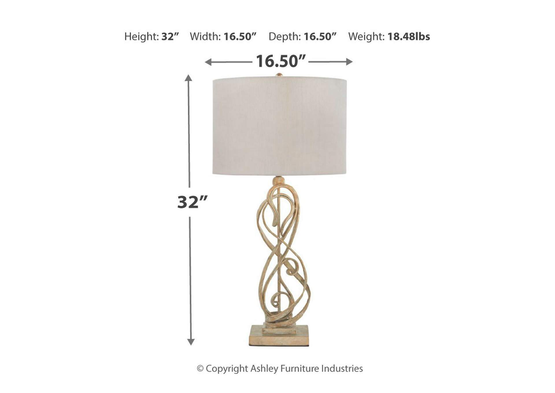 Edric Gold Table Lamp,Signature Design By Ashley