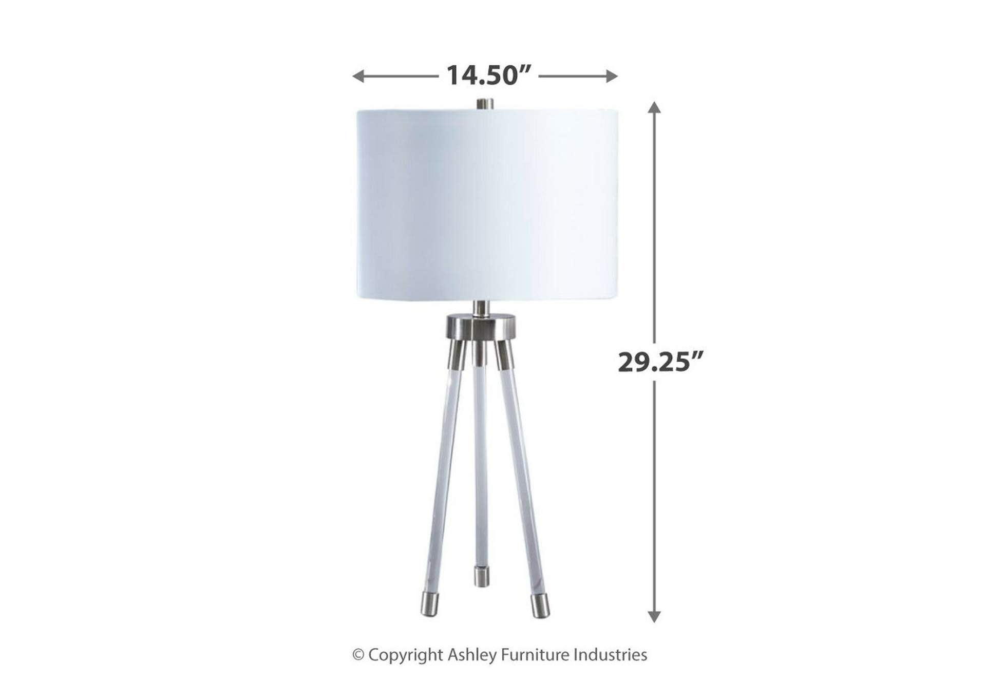 Idalia Clear/Silver Table Lamp,Signature Design By Ashley