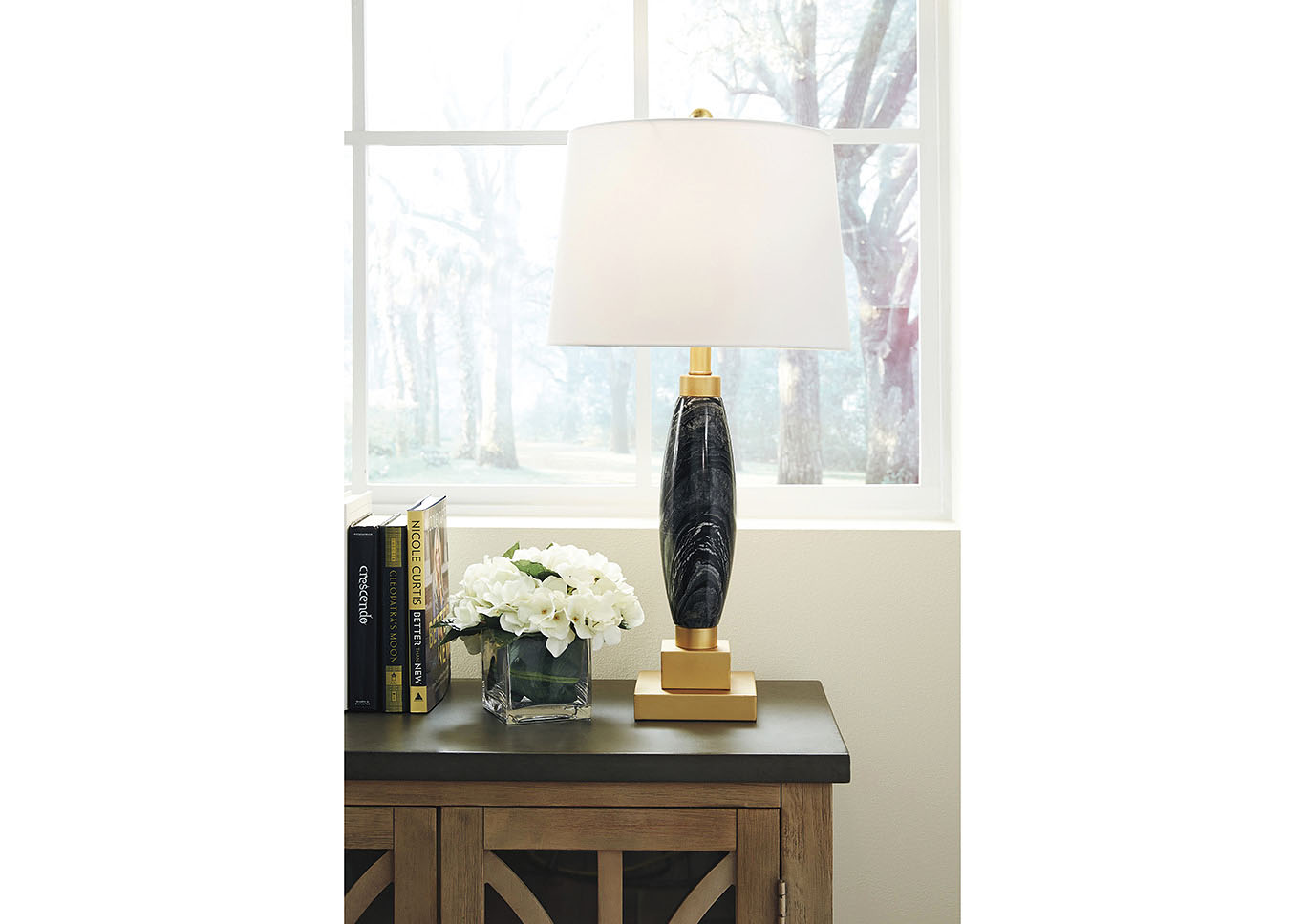 Malencia Black/Brass Finish Marble Table Lamp,Signature Design By Ashley