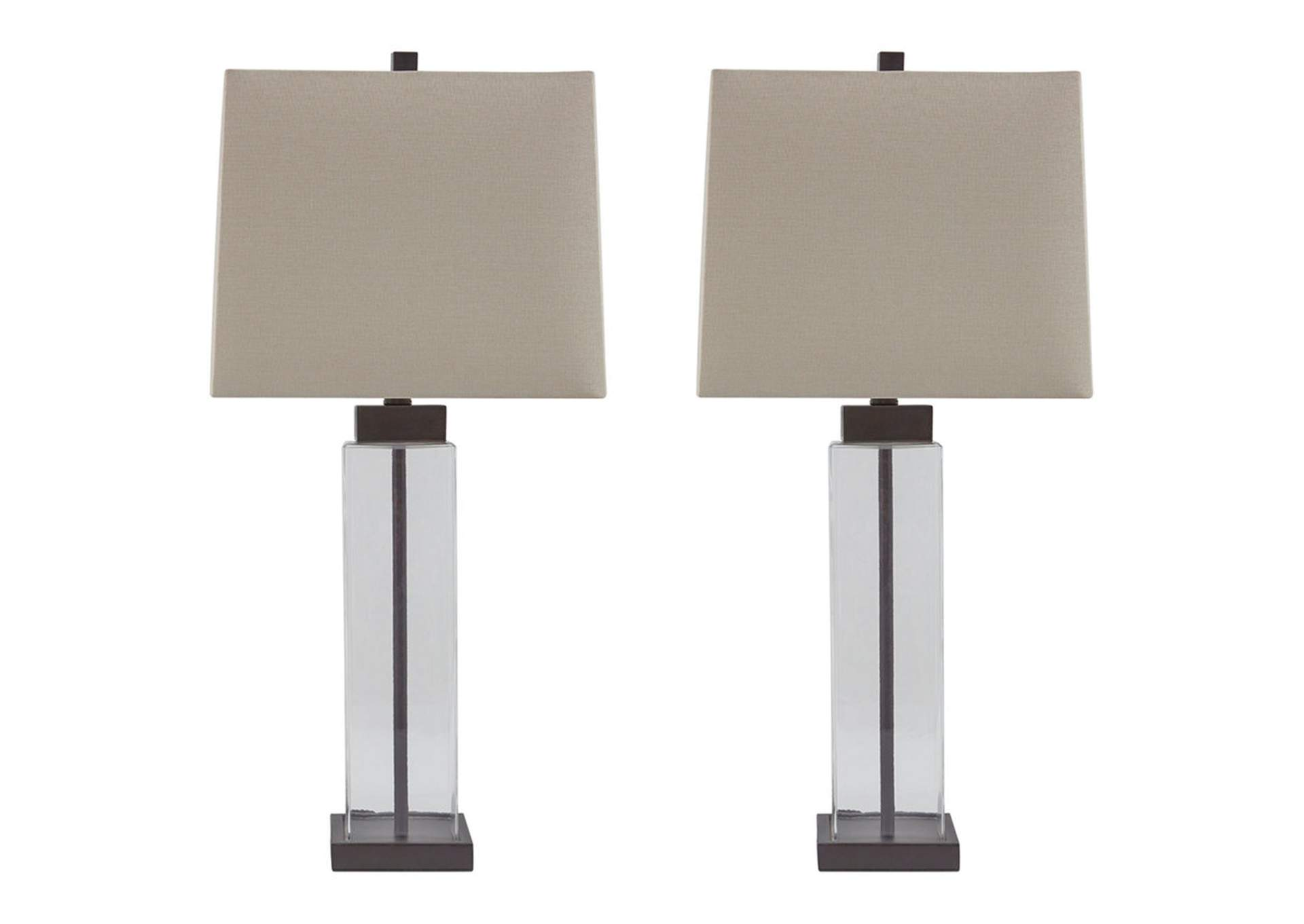Alvaro Clear/Bronze Glass Table Lamp (Set of 2),Signature Design By Ashley