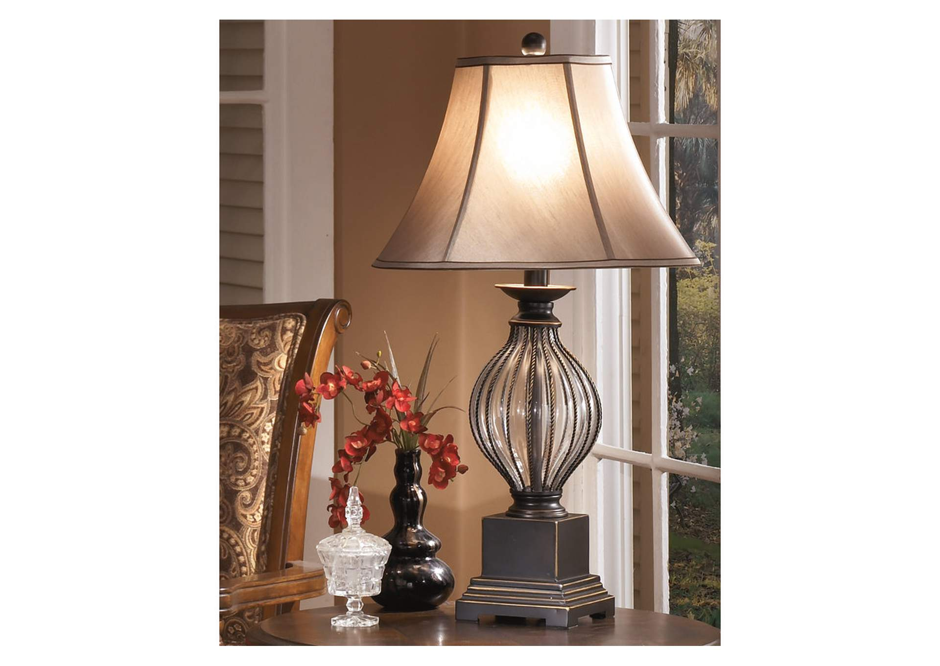 Living Room Center Bronze Ondreya Metal Table Lamp Set Of 2