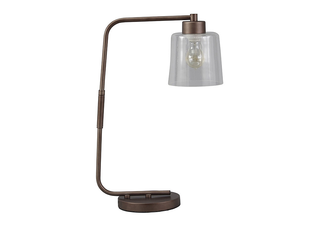 Kyron Clear/Bronze Finish Metal Desk Lamp,Signature Design By Ashley