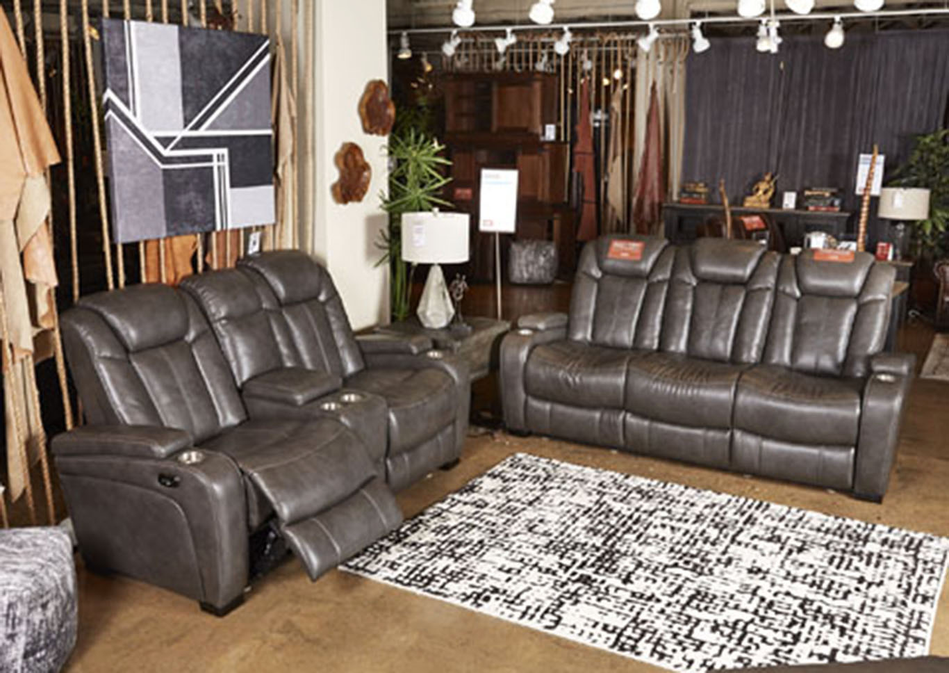 Aloha Furniture Turbulance Brown Leather Power Reclining Sofa ...