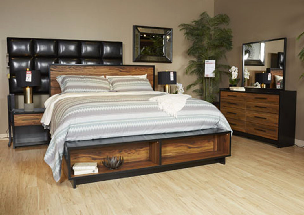Stavani Black/Brown King Storage Platform Bed,Signature Design By Ashley