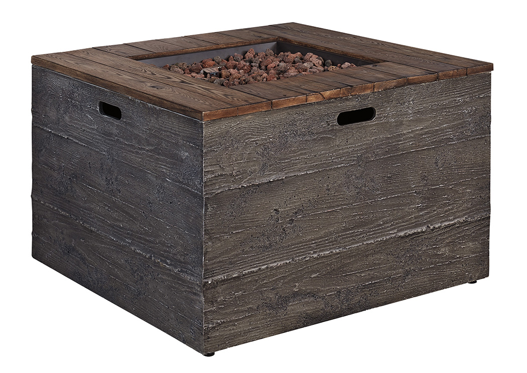 Hatchlands Brown/Gray Square Fire Pit Table,Outdoor By Ashley