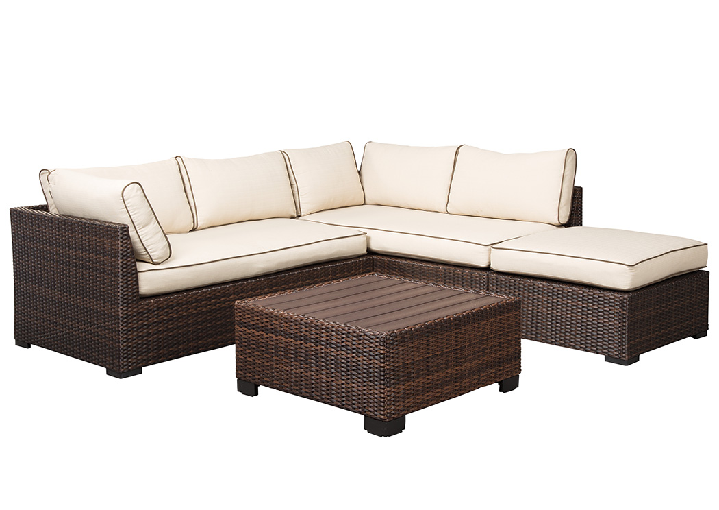 Loughran Beige/Brown Sectional w/Cocktail Ottoman,Outdoor By Ashley