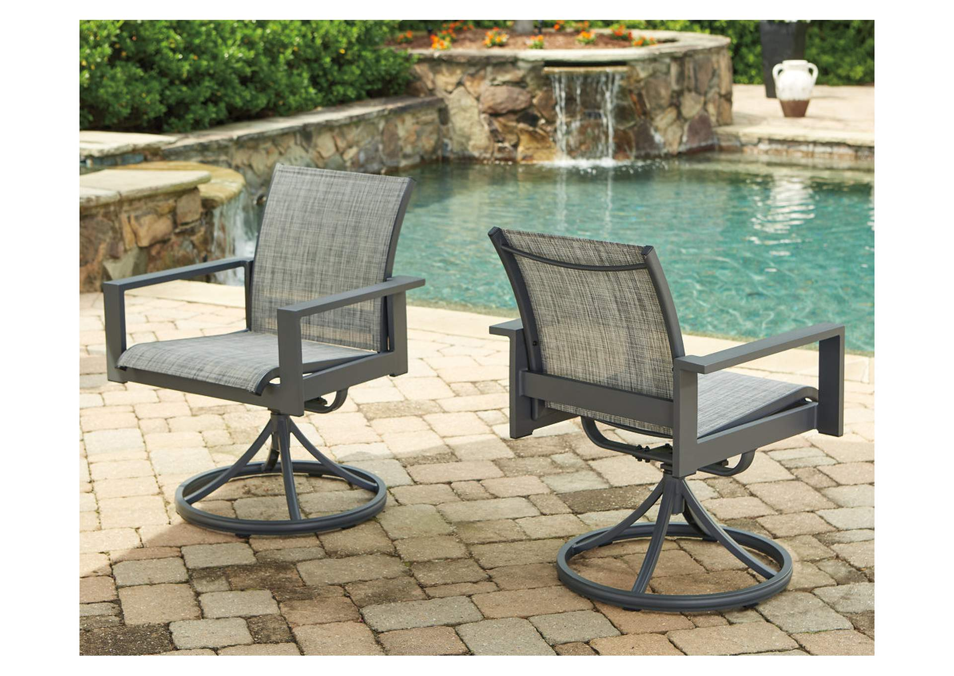 Okada Gray Sling Swivel Chair (Set of 2),Outdoor By Ashley