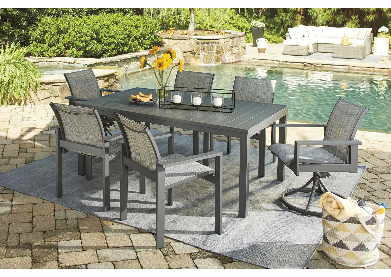 Okada Gray Dining Table w/4 Arm Chair, 2 Swivel Chair and Umbrella Option,Outdoor By Ashley
