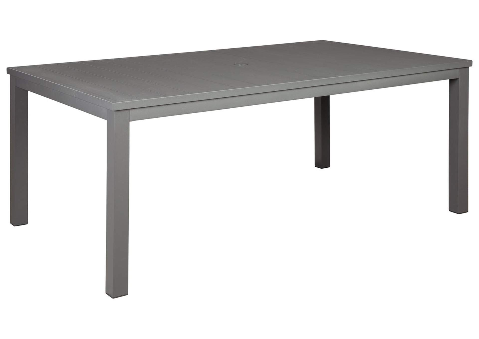 Okada Gray Dining Table with Umbrella Option,Outdoor By Ashley