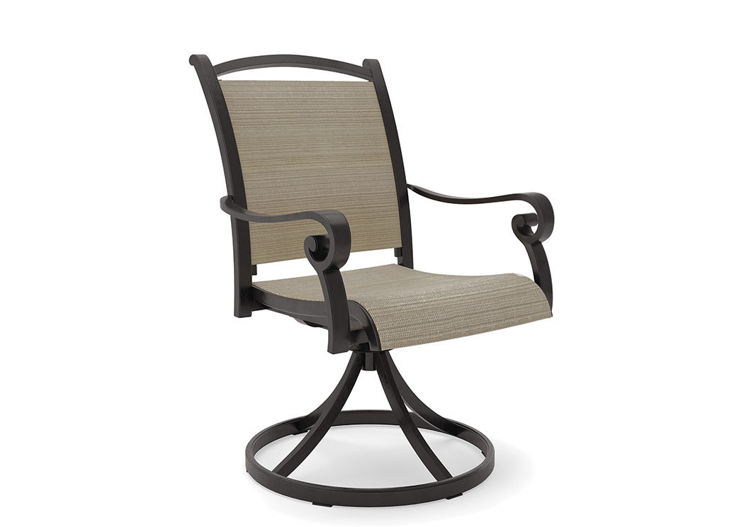 Bass Lake Beige/Brown Sling Swivel Chair (2/CN),Outdoor By Ashley