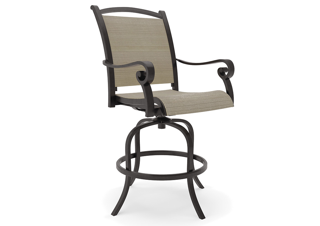 Bass Lake Beige/Brown Sling Barstool (2/CN),Outdoor By Ashley