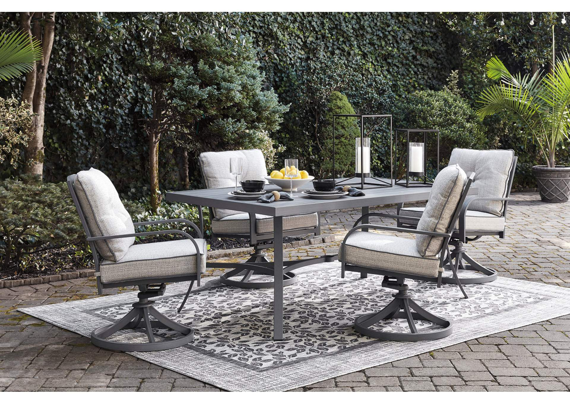Donnalee Bay Gray Dining Table w/4 Swivel Chairs,Outdoor By Ashley