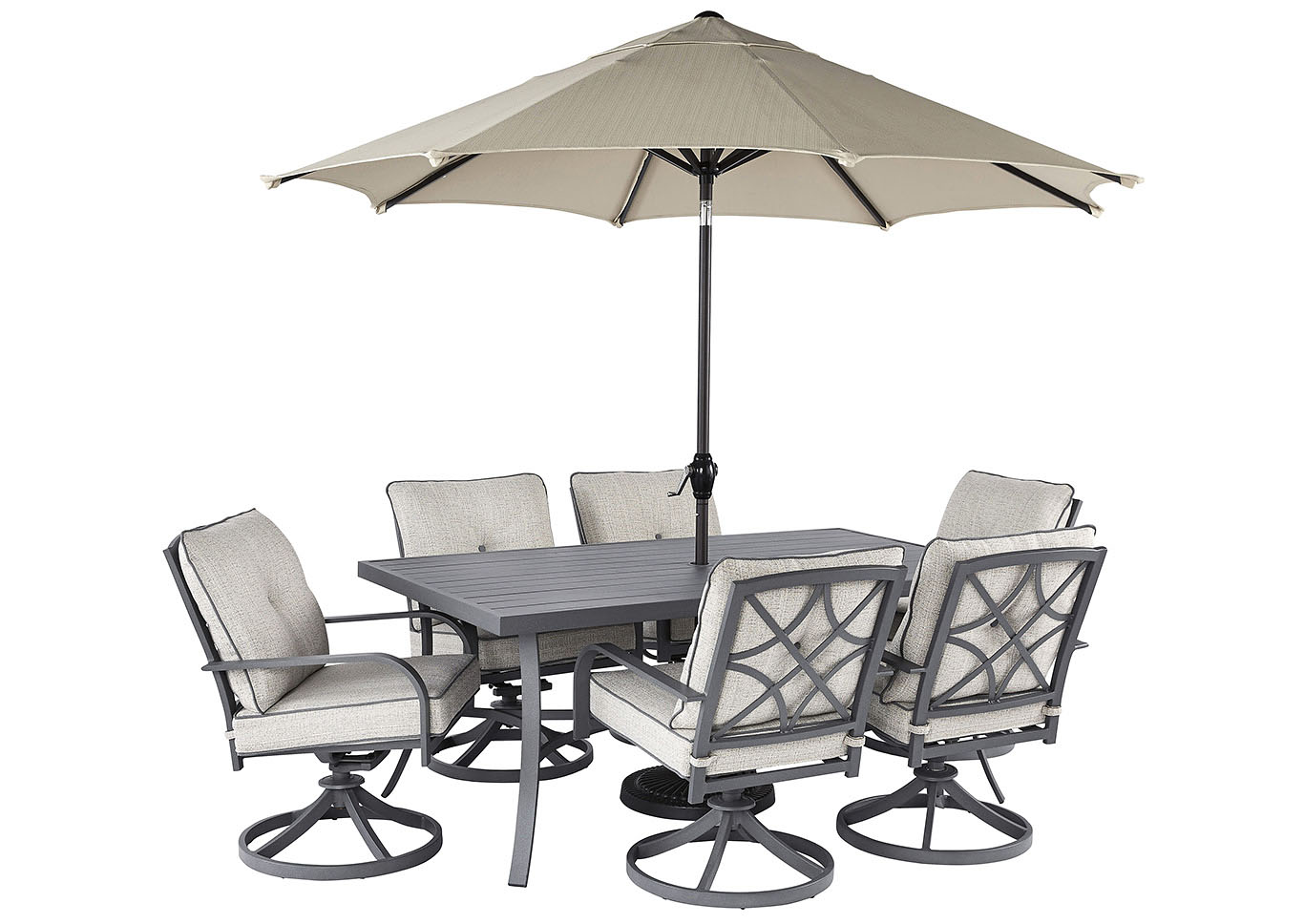 Donnalee Bay Gray Dining Table w/6 Swivel Chairs,Outdoor By Ashley