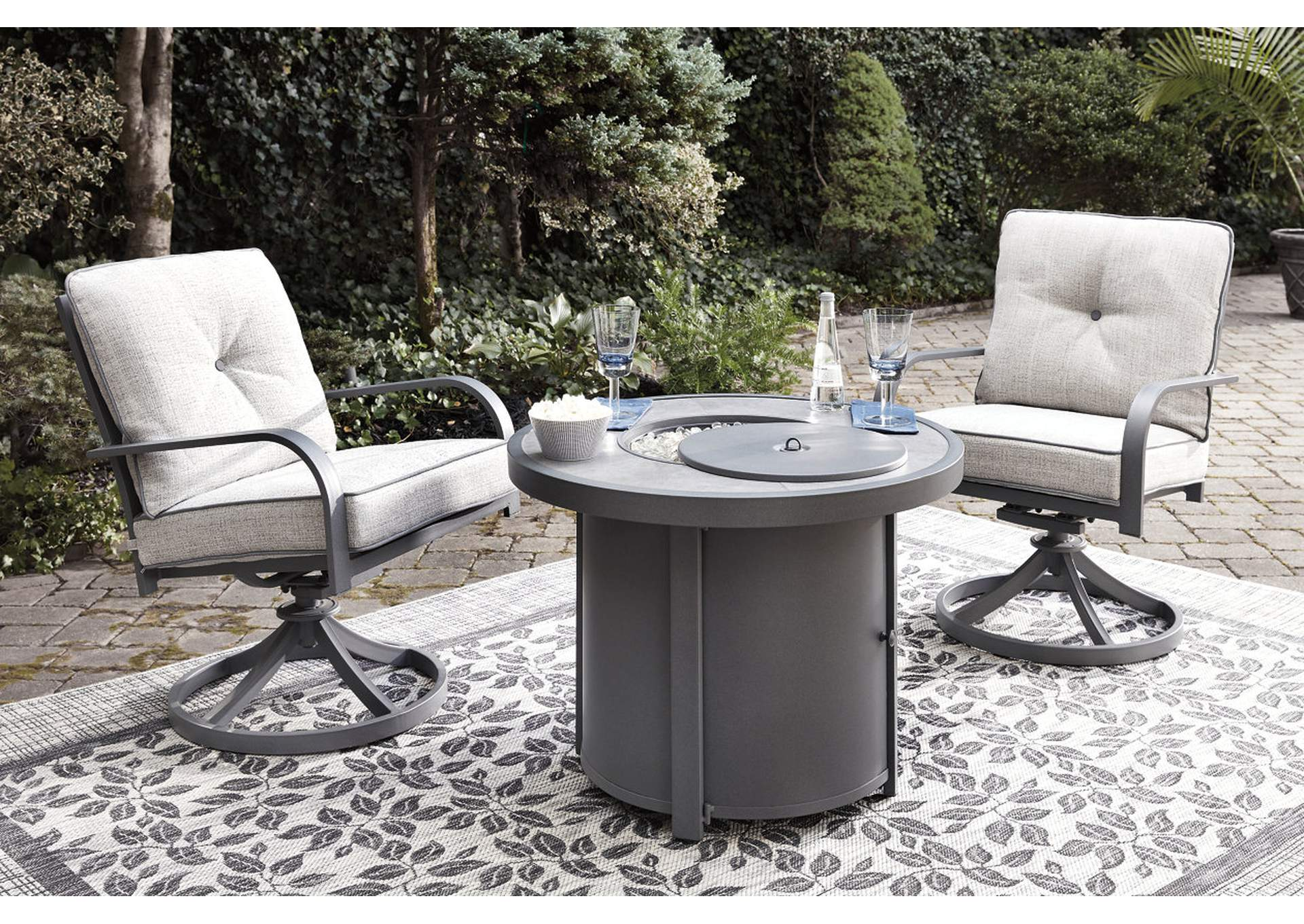 Donnalee Bay Gray Fire Pit Table,Outdoor By Ashley