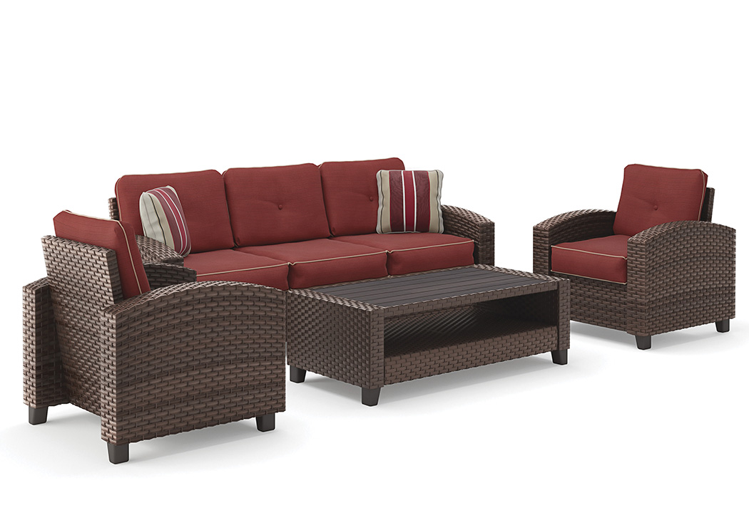 Meadowtown Brown Sofa/Chairs/Table Set (4/CN),Outdoor By Ashley
