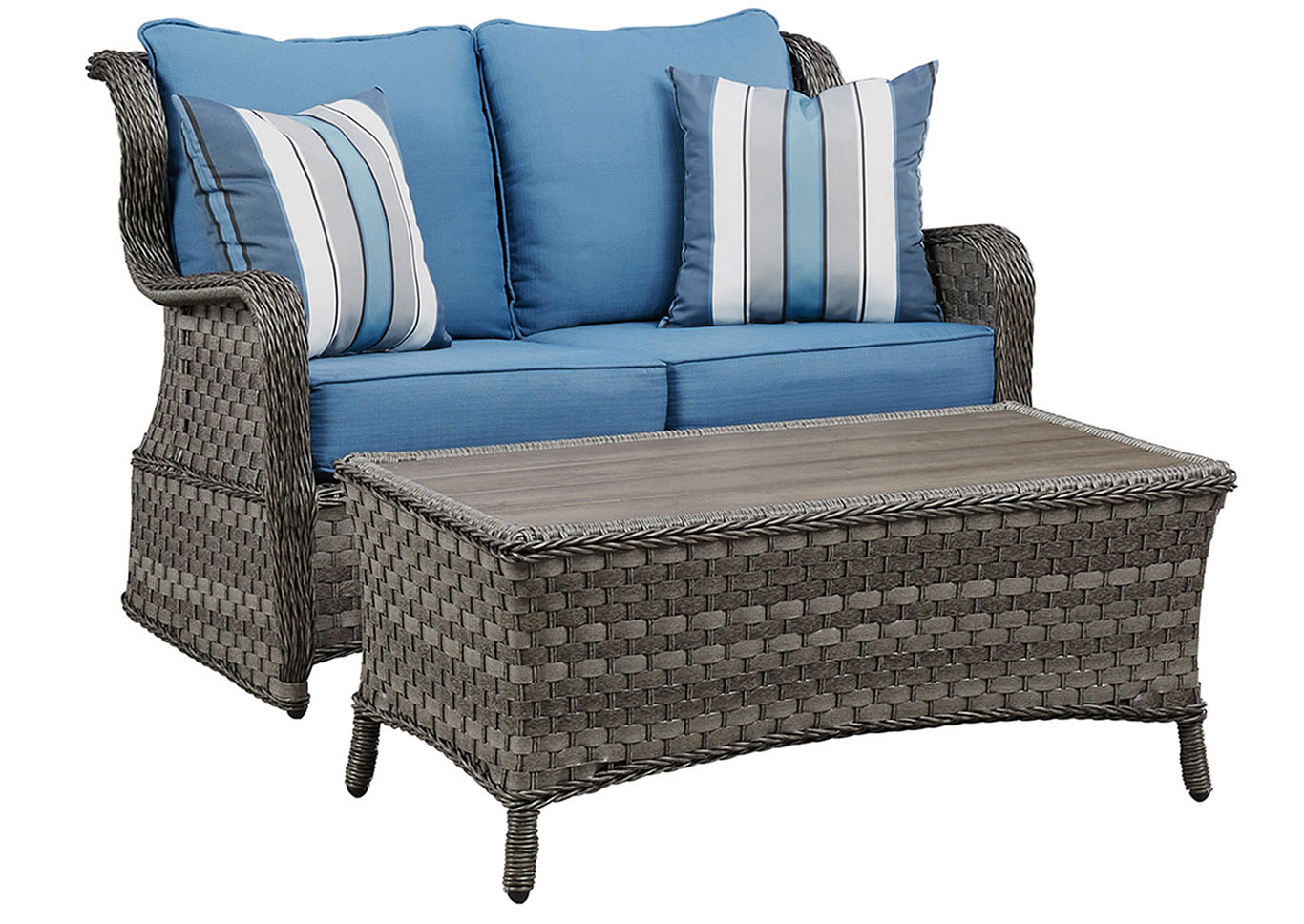 Abbots Court Blue/Gray Loveseat Glider w/Table,Outdoor By Ashley