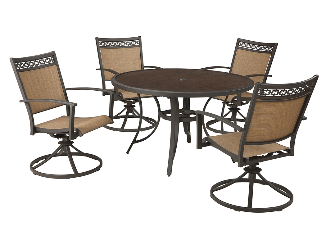 Carmadelia Tan/Brown Round Dining Table w/4 Swivel Chairs,Outdoor By Ashley