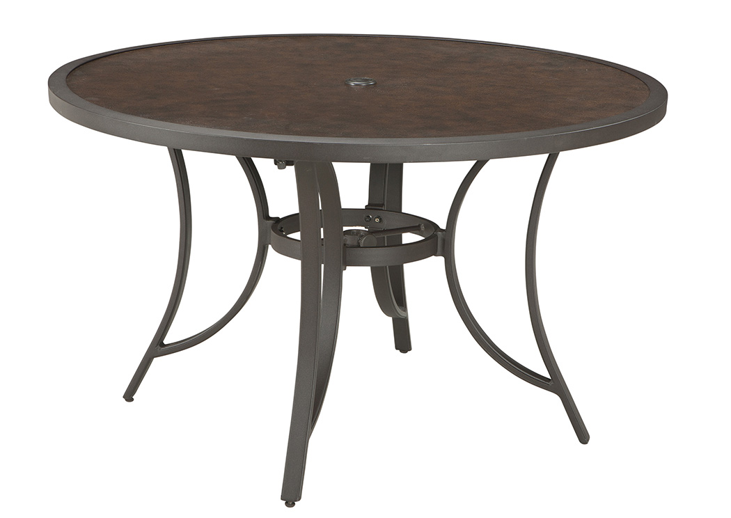 Carmadelia Tan/Brown Round Dining Table,Outdoor By Ashley
