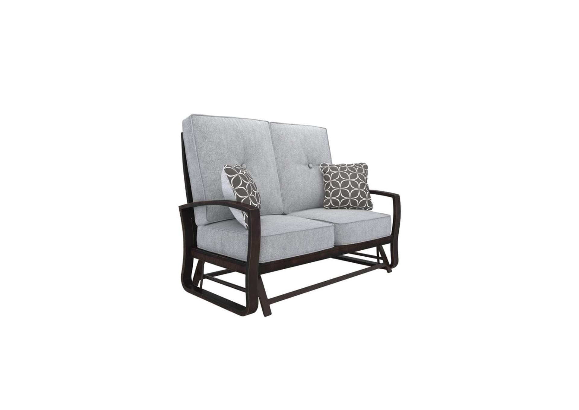 Castle Island Dark Brown Loveseat Glider w/Cushion,Outdoor By Ashley