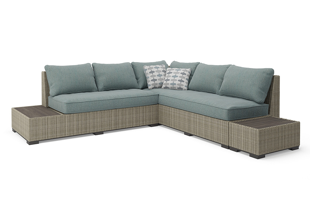 Silent Brook Beige Sectional w/End Tables,Outdoor By Ashley