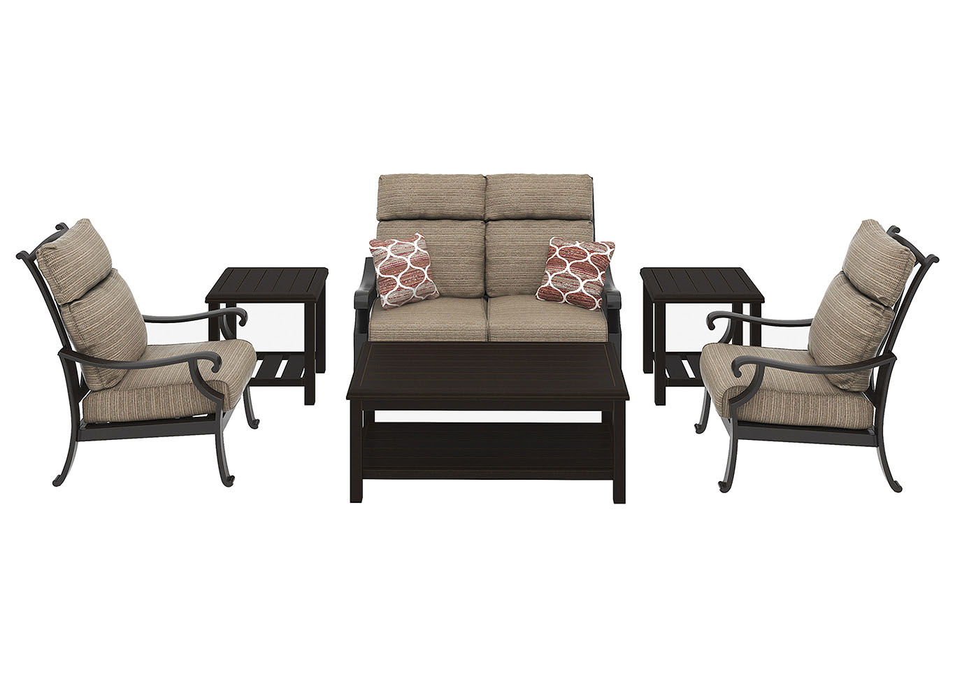 Chestnut Ridge Rectangular Cocktail Table w/2 End Table, Loveseat & 2 Lounge Chair Cushion,Outdoor By Ashley