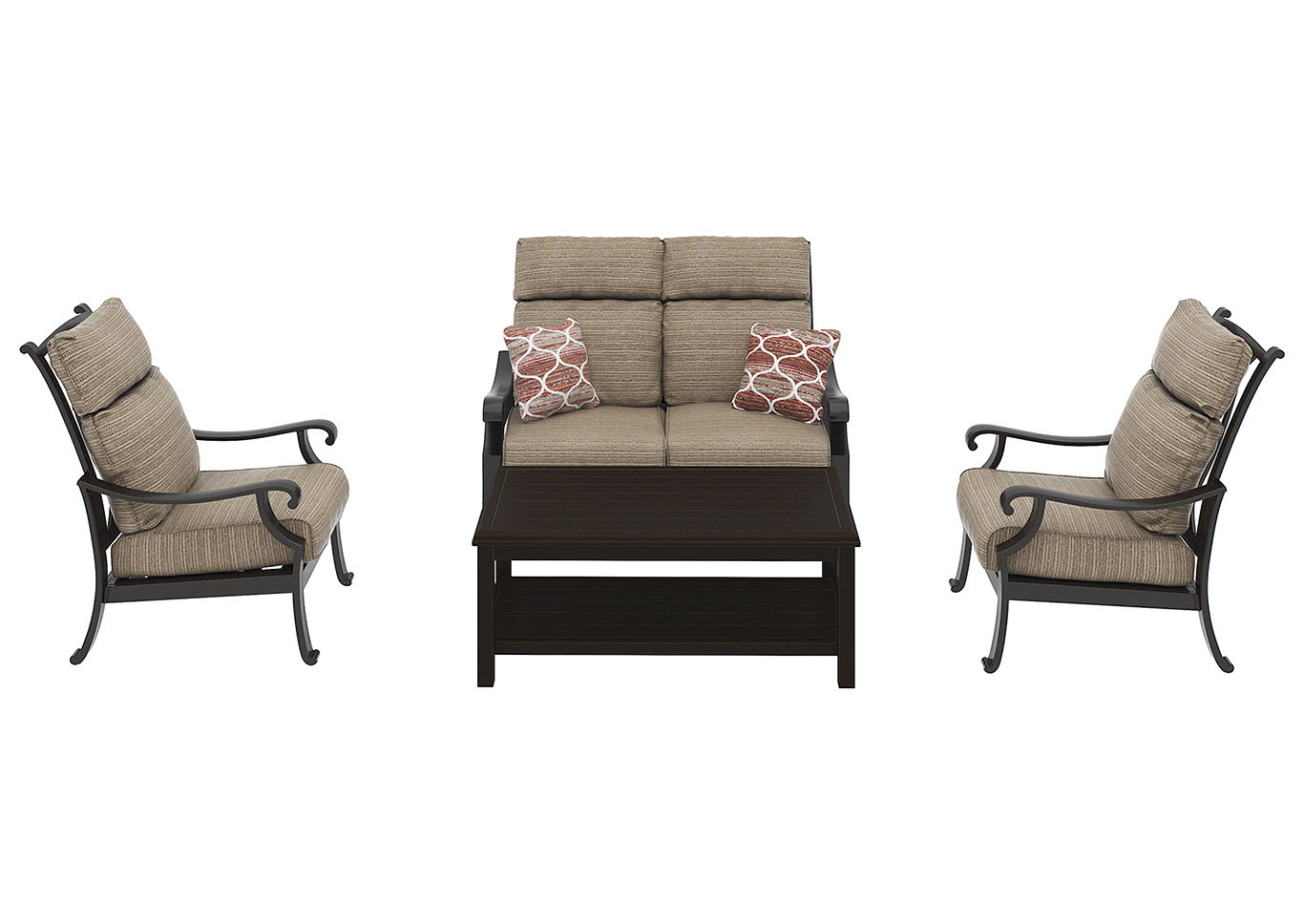 Chestnut Ridge Rectangular Cocktail Table w/Loveseat & 2 Lounge Chair Cushion,Outdoor By Ashley