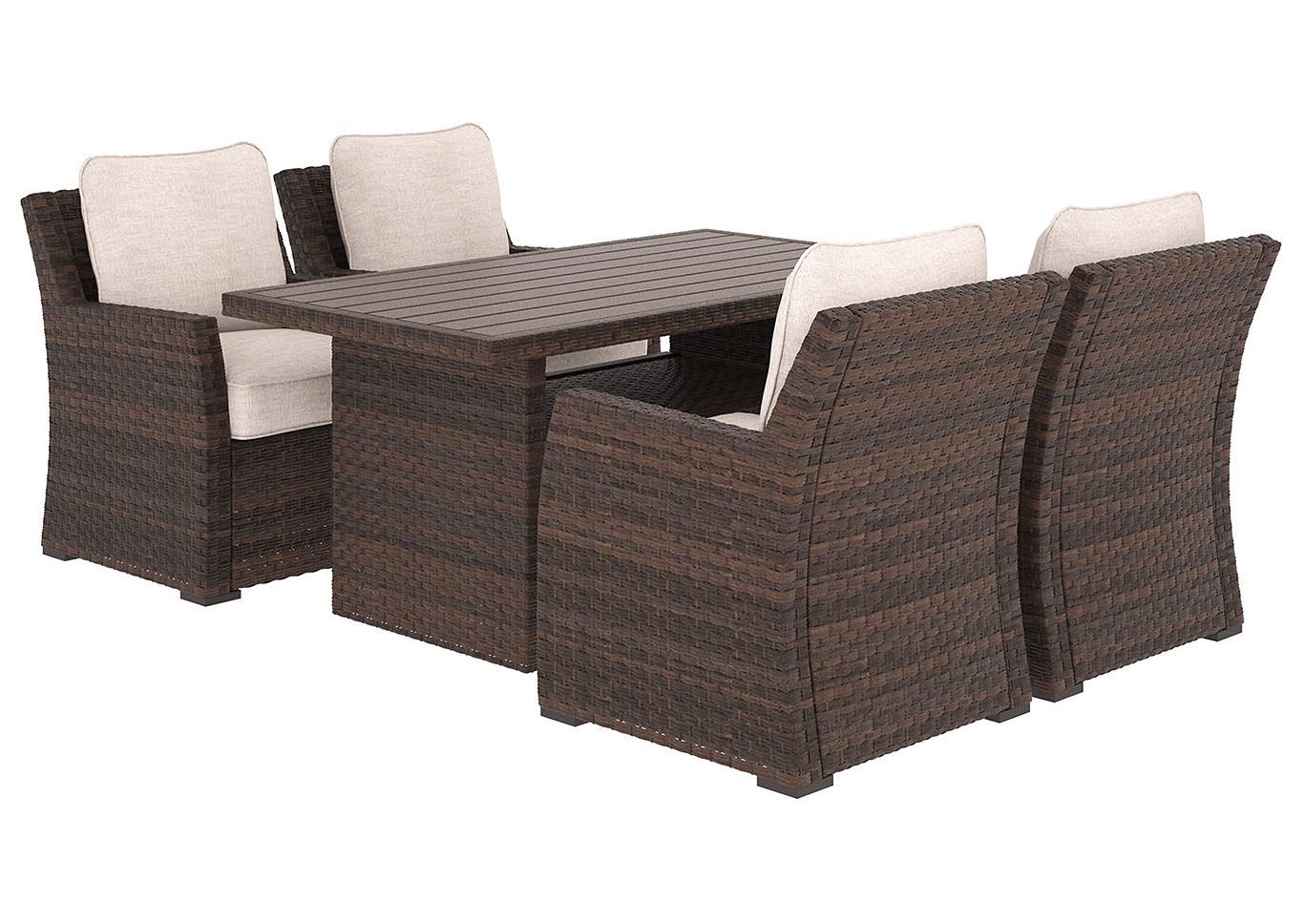 Salceda Beige/Brown Rectangular Dining Table w/4 Lounge Chair Cushion,Outdoor By Ashley