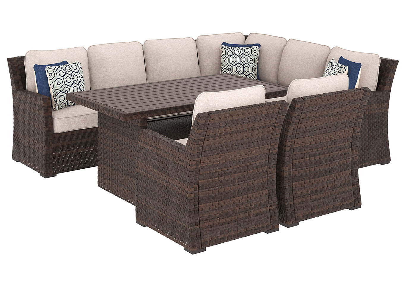 Salceda Beige/Brown Rectangular Dining Table w/Sofa Sectional & 2 Lounge Chair Cushion,Outdoor By Ashley