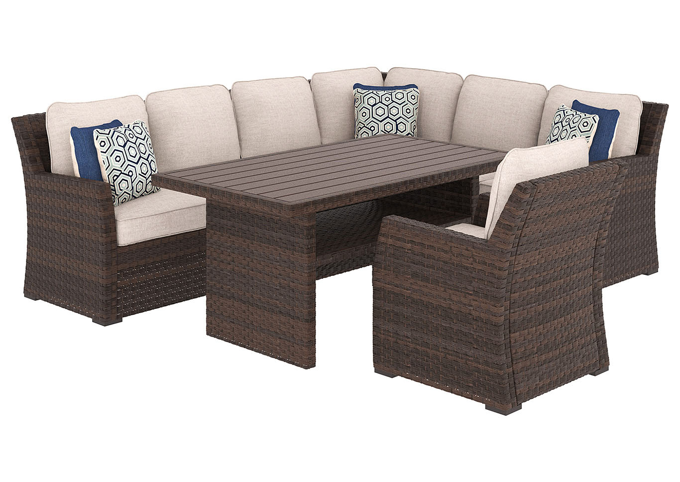 Salceda Beige/Brown Rectangular Dining Table w/Sofa Sectional & Lounge Chair Cushion,Outdoor By Ashley