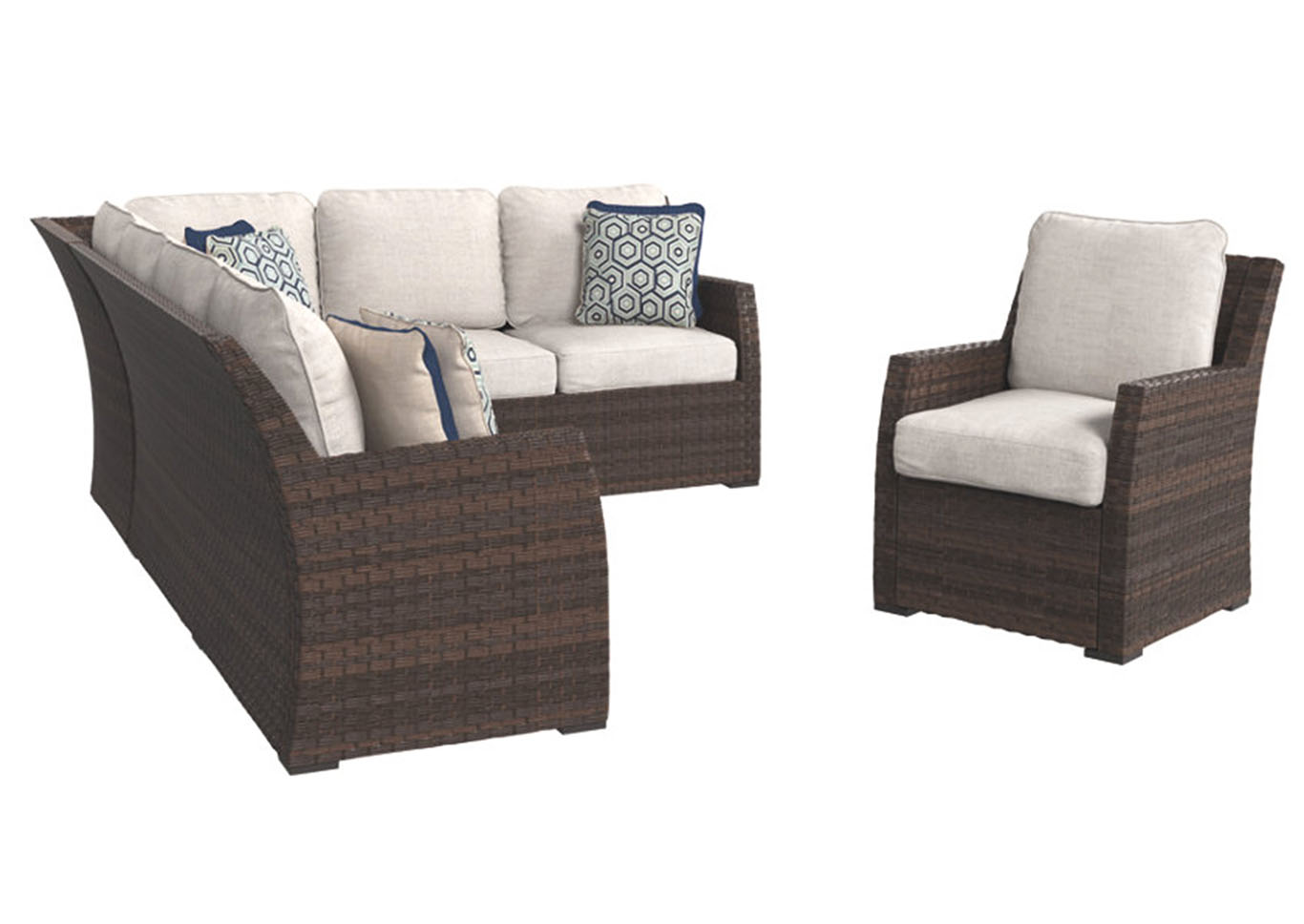 Salceda Beige/Brown Sofa Sectional/Chair w/Cushion (3/CN),Outdoor By Ashley