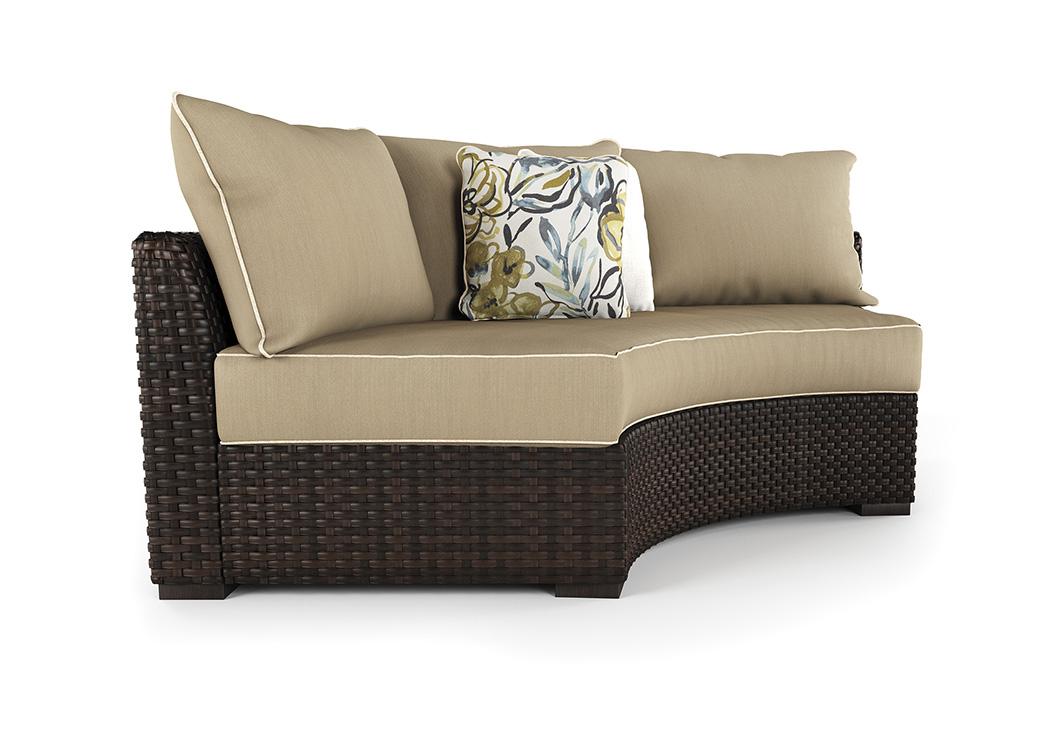 Spring Ridge Beige/Brown Curved Corner Chair W/Cushion,Outdoor By Ashley