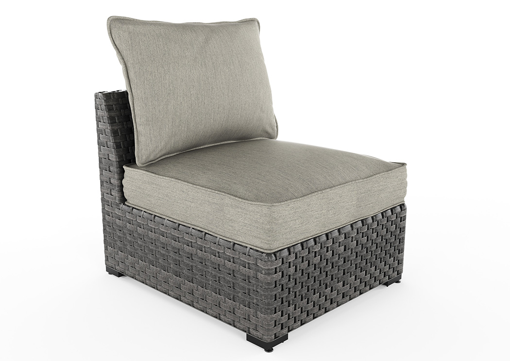 Spring Dew Gray Armless Chair w/Cushion (2/CN),Outdoor By Ashley