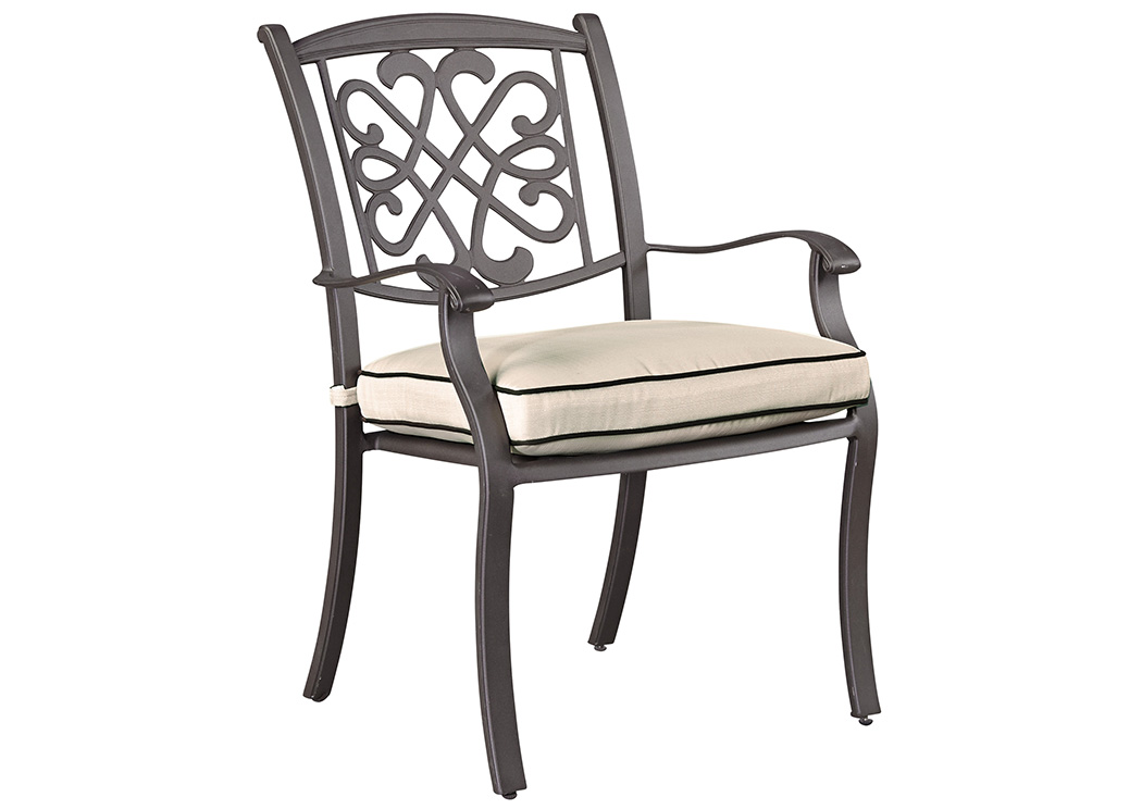 Burnella Beige/Brown Chair w/Cushion (Set of 4),Outdoor By Ashley