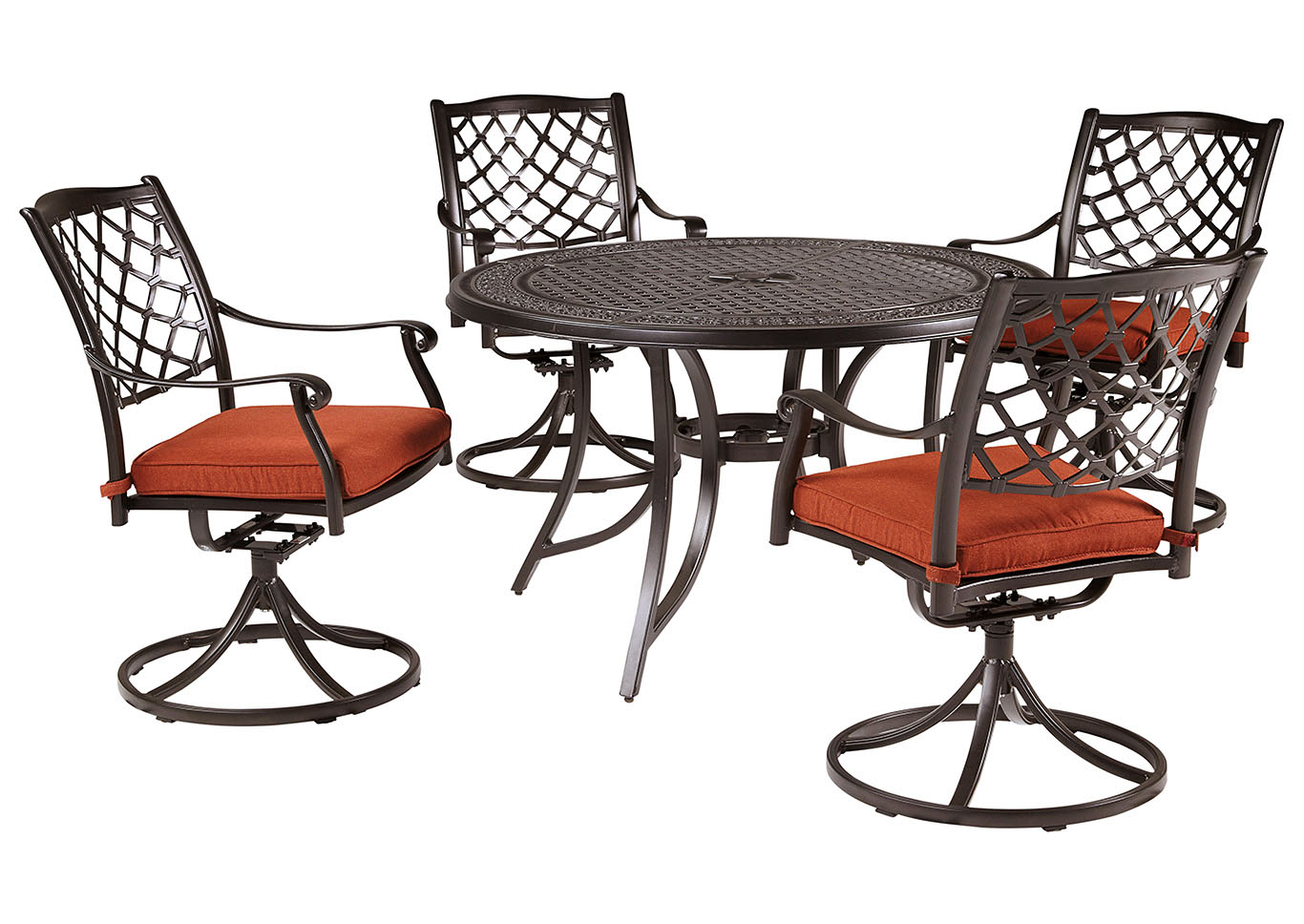 Burnella Brown Round Dining Table w/4 Tanglevale Swivel Chair Cushion (Umbrella Option),Outdoor By Ashley